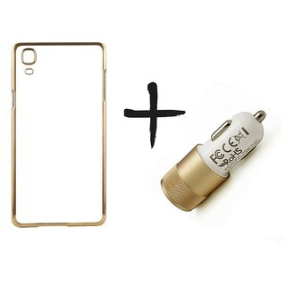 Meephone Back Cover for Samsung Galaxy J1 (GOLDEN) With car charger