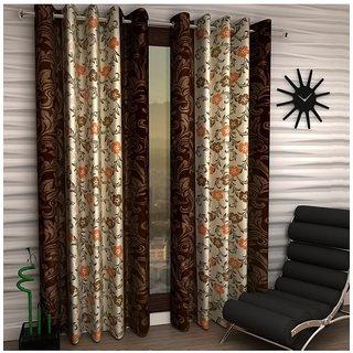 iLiv Border Self Brown Flower Designer Eyelet Window curtain - 5feet set of 2