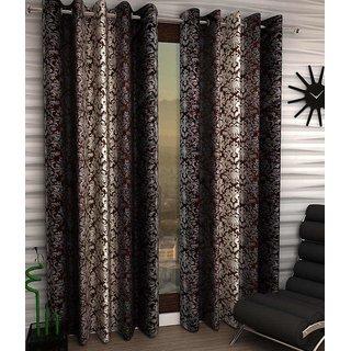 iLiv Signature Brown Designer Eyelet Long Door Curtain - 9feet set of 2