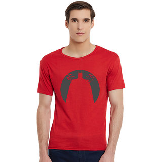 Incynk Batman Men RED Printed Half Sleeve Tshirt