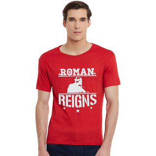 Incynk Roman Reigns Men RED Printed Half Sleeve Tshirt