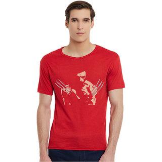 Incynk Wolverine Men RED Printed Half Sleeve Tshirt