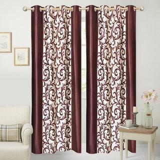 iLiv Border Brown Jaleb Designer Door curtain - 7feet set of 2