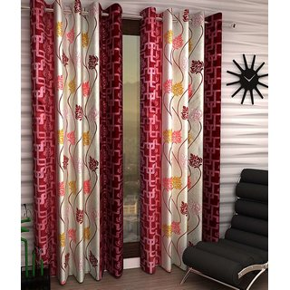iLiv Swastik Maroon Designer Eyelet Door Curtain - 7feet  set of 4