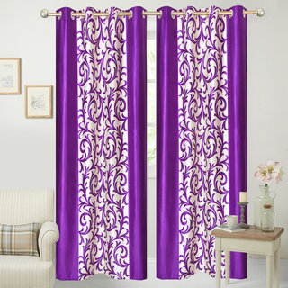 iLiv Border Purple Jaleb Designer Long Door curtain - 9feet set of 2