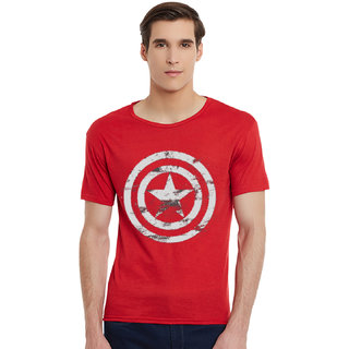 Incynk Cpt. America Men RED Printed  Tshirt