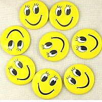 8pcs/lot Smile Face Badge Pin On Button Broochs Smiley Face Smile Open Eyes Fun Pin On Badge Smiling Kids Gift Cute Waiter