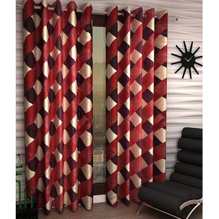iLiv Box Maroon Designer Eyelet Window Curtain - 5feet set of 4