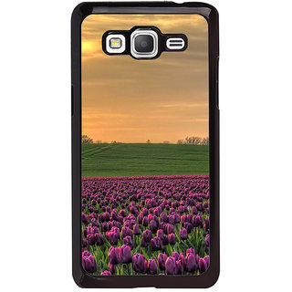 ifasho green Grass and purple flower at sunset Back Case Cover for Samsung Galaxy Grand Prime