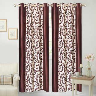 iLiv Border Brown Jaleb Designer Door curtain - 7feet set of 4