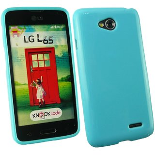 Emartbuy Phone LG L65/L70 Case Gloss Gel Blue Plain