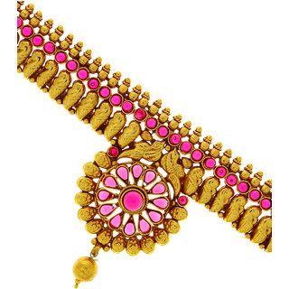 Anuradha Art Golden Colour With Pink Colour Classy Stone Armlet Bajuband For Women/Girls