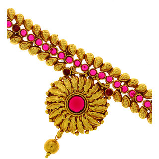 Anuradha Art Golden Finish Styled With Pink Colour Stone  Pearl Beads Armlet Bajuband For Women/Girls