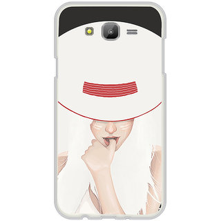 ifasho Gorgeous Winking Girl in white hat Back Case Cover for Samsung Galaxy J5