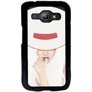 ifasho Gorgeous Winking Girl in white hat Back Case Cover for Samsung Galaxy J1