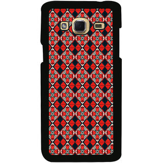 ifasho Animated Pattern small red rose flower with black and red rectangle Back Case Cover for Samsung Galaxy J3