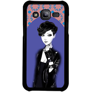 ifasho Girl in Black Jacket Back Case Cover for Samsung Galaxy J2