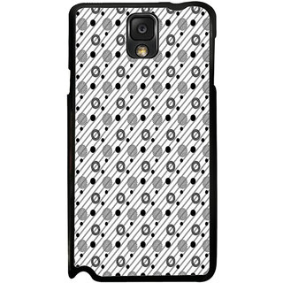 ifasho Animated Pattern design black and white flower in royal style Back Case Cover for Samsung Galaxy Note 3