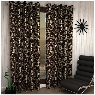 iLiv Jalebi Brown Designer Door Curtain - 7feet set of 4