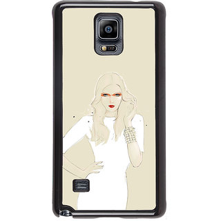 ifasho modern Girl in white dress painting Back Case Cover for Samsung Galaxy Note 4
