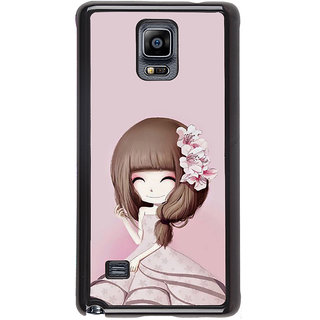 ifasho Cute Girl with Ribbon in Hair Back Case Cover for Samsung Galaxy Note 4