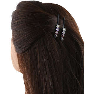 Anuradha Art Classy Balck Colour Violet Colour Floral Design Hair Accessories Side Pin Stylish Hair Clip For Women/Girls