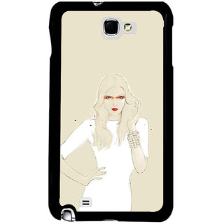 ifasho modern Girl in white dress painting Back Case Cover for Samsung Galaxy Note 2