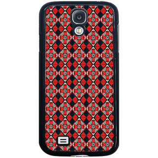 ifasho Animated Pattern small red rose flower with black and red rectangle Back Case Cover for Samsung Galaxy S4