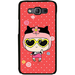 ifasho Cute Girl with Specs and Small Cat Back Case Cover for Samsung Galaxy On 7
