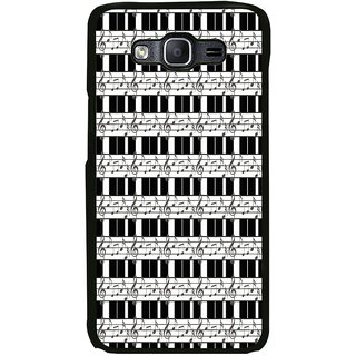 ifasho Animated Pattern design black and white music symbols and lines Back Case Cover for Samsung Galaxy On 7