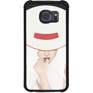 ifasho Gorgeous Winking Girl in white hat Back Case Cover for Samsung Galaxy S6 Edge