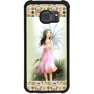 ifasho young Girl with umbrella Back Case Cover for Samsung Galaxy S6 Edge
