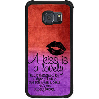 ifasho Kiss Quote Back Case Cover for Samsung Galaxy S6 Edge