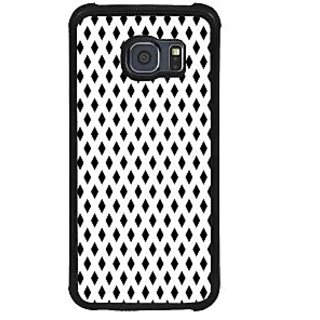 ifasho chevron style and Checks In black and white Pattern Back Case Cover for Samsung Galaxy S6 Edge