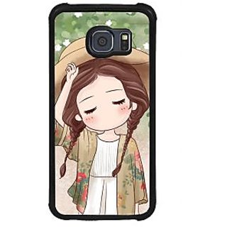 ifasho Lovely Girl with Hat Back Case Cover for Samsung Galaxy S6 Edge