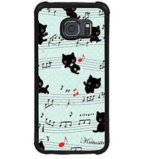 ifasho Animated Pattern design black and white music symbols and cats Back Case Cover for Samsung Galaxy S6
