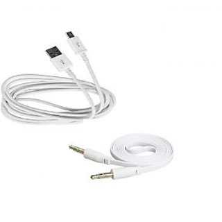 Combo of Micro USB Data Sync and Charging Cable and High Quality Flat Stereo AUX Cable, 3.5mm Male to 3.5mm Male Cable for Micromax W900