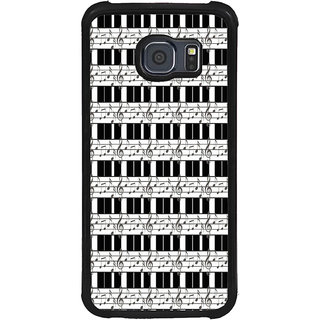 ifasho Animated Pattern design black and white music symbols and lines Back Case Cover for Samsung Galaxy S6 Edge