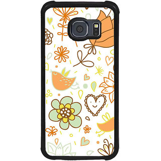 ifasho Animated Pattern colrful design cartoon flower with leaves Back Case Cover for Samsung Galaxy S6 Edge