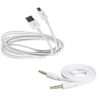 Combo of Micro USB Data Sync and Charging Cable and High Quality Flat Stereo AUX Cable, 3.5mm Male to 3.5mm Male Cable for Reliance Jio LYF Flame 3