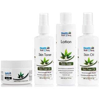 Healthvit Tea Tree Oil Skin Care Kit (Oil ,Lotion,Toner,Cream)