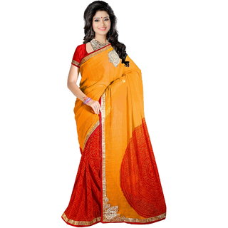 Karishma Orange Chiffon Printed Saree With Blouse
