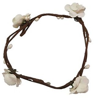 Trendy Handmade White Floral Hand Tiara/Crown for Girls