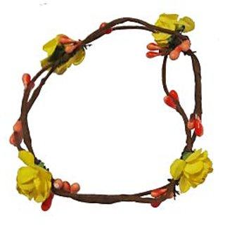 Beautiful Handmade Yellow Floral Hand Tiara/Crown for Girls