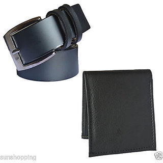 Sunshopping mix of Leatherite black needle pin point buckle belt with black bifold synthetic Leatherite wallet.