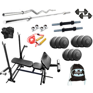 GB Home Gym Set 32 Kg WIth 7 IN 1 BENCH + 4Rods+ Glove + Rope + Gym Bag