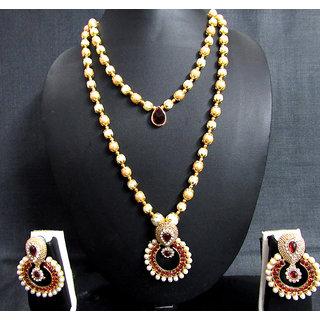 Maroon Stone 2 Line Pearl Pendant Necklace Set