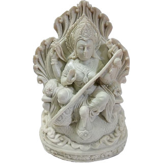 Eye-catching Hand Crafted Marble Dust Goddess Maa Saraswati Statue
