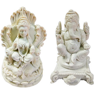 Impressive Handmade Marble Dust Combo Set of Laxmi-Ganesh Statue