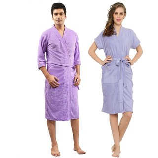 Imported Cotton Bathrobes Combo (Pack of 2)- Mauve